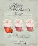 Roczników Mothers dnia Szczęśliwy Typographical tło Plakat z babeczkami w retro stylu Fotografia Stock