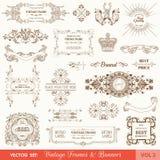 Roczników sztandary i ramy Obrazy Royalty Free