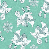 Roczników Wesoło bożych narodzeń doodles karta z bocianowym ptakiem przynosił dziecka Zdjęcie Royalty Free