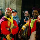 Roczny średniowieczny rynek w Orihuela Hiszpania obraz royalty free