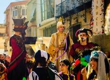 Roczny średniowieczny rynek w Orihuela Hiszpania Atmosfera, środek zdjęcie royalty free