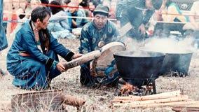 Roczny międzynarodowy zgromadzenie szamany na Jeziornym Baikal, Olkhon wyspa Zdjęcia Royalty Free