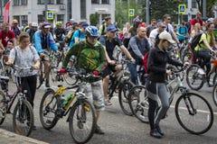Roczny wiosny miasta kolarstwa wakacje i kolarstwo przez ulic miasto Zdjęcie Royalty Free