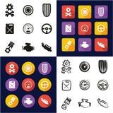 Rod All chaud dans les icônes une noires et la conception plate de couleur blanche à main levée réglée Photo stock