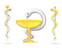 Rod of Asclepius and Bowl of Hygieia Royalty Free Stock Images