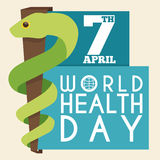 Rod of Asclepius in Flat Style for World Health Day, Vector Illustration. Commemorative design with a serpent around a staff and paper with text about World Royalty Free Stock Photo