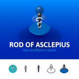 Rod of Asclepius icon in different style. Rod of Asclepius color icon, vector symbol in flat, outline and isometric style  on blur background Stock Photos