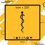 Rod of Asclepius Snake Coiled Up Silhouette. Element for your design Royalty Free Stock Image