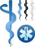 Rod of Asclepius. The Star of Life whith the Rod of Asclepius in the center Stock Photos