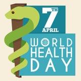 Rod Asclepius w mieszkanie stylu dla Światowych zdrowie dnia, Wektorowa ilustracja ilustracji