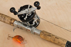 Rod, Baitcasting Reel and Crankbait Stock Images