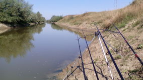 Rod bereit zur Fischerei Stockbild
