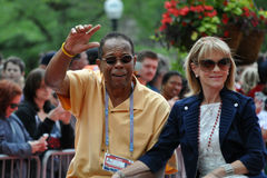 Rod Carew. MINNEAPOLIS - JULY 15:  Hall of Fame baseball star Rod Carew, and his wife Rhonda, in the All Star Parade, on July 15, 2014, in Minneapolis Royalty Free Stock Images