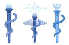 Rod de Asclepius e de Caduceus - símbolo médico ilustração royalty free