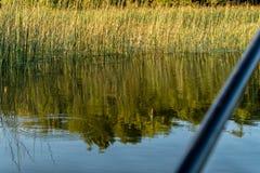 Rod i pławik TARGET772_1_ na jeziorze obrazy stock