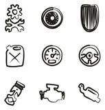 Rod Icons Freehand caldo Fotografia Stock Libera da Diritti