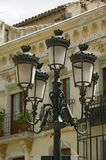 Rod iron street lamps of Avila Spain, an old Castilian Spanish village Stock Photo