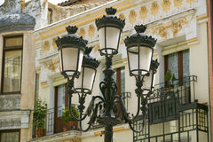 Rod iron street lamps of Avila Spain, an old Castilian Spanish village Royalty Free Stock Photo