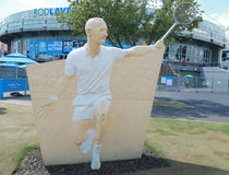 Rod Laver Statue in the front of the Rod Laver arena at Australian tennis center in Melbourne Park. Royalty Free Stock Photography