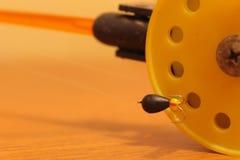 Rod pour la pêche d'hiver avec des mormyshkae Photos libres de droits