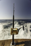 Rod and reel for Deep Sea Fishing from back of boat Stock Photo