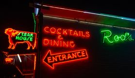 Rod`s Steak House, Neon Sign. Route 66. stock image