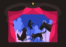 Rod shadow puppets manipulated by puppeteer at theater stage. Telling of scary story, entertaining performance with. Silhouettes of animals for children. Flat vector illustration