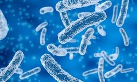 Rod-shaped bacteria. In blue background, 3d illustration stock illustration