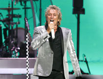 Rod Stewart. WANTAGH, NY-JUL 18: Singer Rod Stewart performs in concert at Jones Beach Theater on July 18, 2017 in Wantagh, New York royalty free stock photos