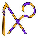 Rod and whip of Pharaoh icon cartoon Royalty Free Stock Photography