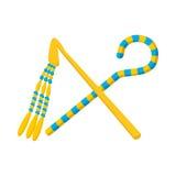Rod and whip of Pharaoh icon, cartoon style Stock Photo