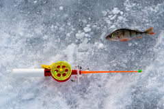 The rod for winter fishing Stock Photo