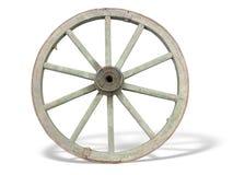 Roda antiga do carro feita da madeira e ferro-alinhada Fotos de Stock Royalty Free