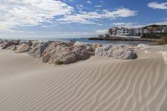 Roda Bera,Catalonia,Spain. Mediterranean beach in Roda de Bera, Roc Sant Gaieta, Costa Daurada, province Tarragona, Catalonia Royalty Free Stock Images