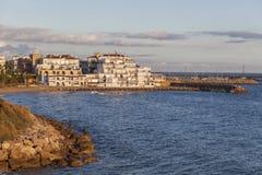 Roda Bera,Catalonia,Spain. View of front maritime of catalan village Roda de Bera, Roc Sant Gaieta, Costa Daurada,province Tarragona,Catalonia, Spain royalty free stock photos