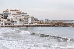 Roda Bera,Catalonia,Spain. Village view, mediterrean sea, Roc Sant Gaieta, Roda de Bera, Costa Daurada, province Tarragona, Catalonia Stock Photography
