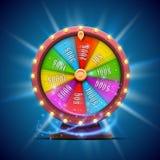 Roda colorida da fortuna No fundo azul ilustração royalty free