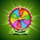 Roda colorida da fortuna No fundo verde ilustração stock