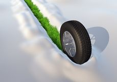 Roda com o pneu do inverno que atravessa a neve que sae do verde ilustração do vetor