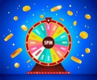 Roda da fortuna com as moedas, a loteria e a sorte do ouro 3d ilustração do vetor