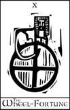 Roda da fortuna do cartão de Tarot ilustração royalty free
