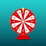 Roda da fortuna realística com os prêmios isolados no fundo Conceito de jogo vermelho da roda da roleta e da fortuna ilustração stock