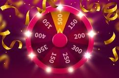 Roda da sorte ou da fortuna Lazer da possibilidade do jogo Roda de jogo colorida Fundo premiado do conceito do jackpot ilustração stock
