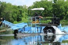 Roda de água de uma ceifeira da vegetação do lago Foto de Stock
