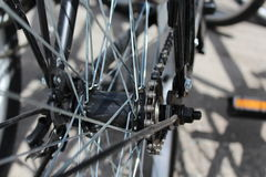 Roda de bicicleta com detalhes, close-up Fotografia de Stock Royalty Free