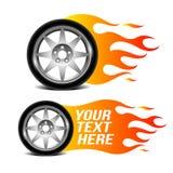 A roda de carro com chama do fogo, carro relacionou o sinal Fotografia de Stock
