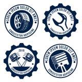A roda de carro, transporte relacionou emblemas Imagens de Stock