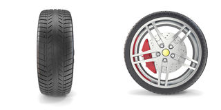 Roda de Chrome com os pneus isolados no fundo branco ilustração 3D Fotos de Stock Royalty Free