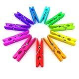Roda de cor dos pinos de roupa Imagens de Stock