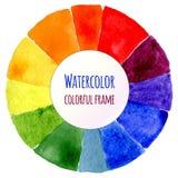 Roda de cor feito a mão Espectro isolado da aquarela Fotos de Stock